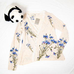 Cream, blue floral print Antrhopologie cardigan